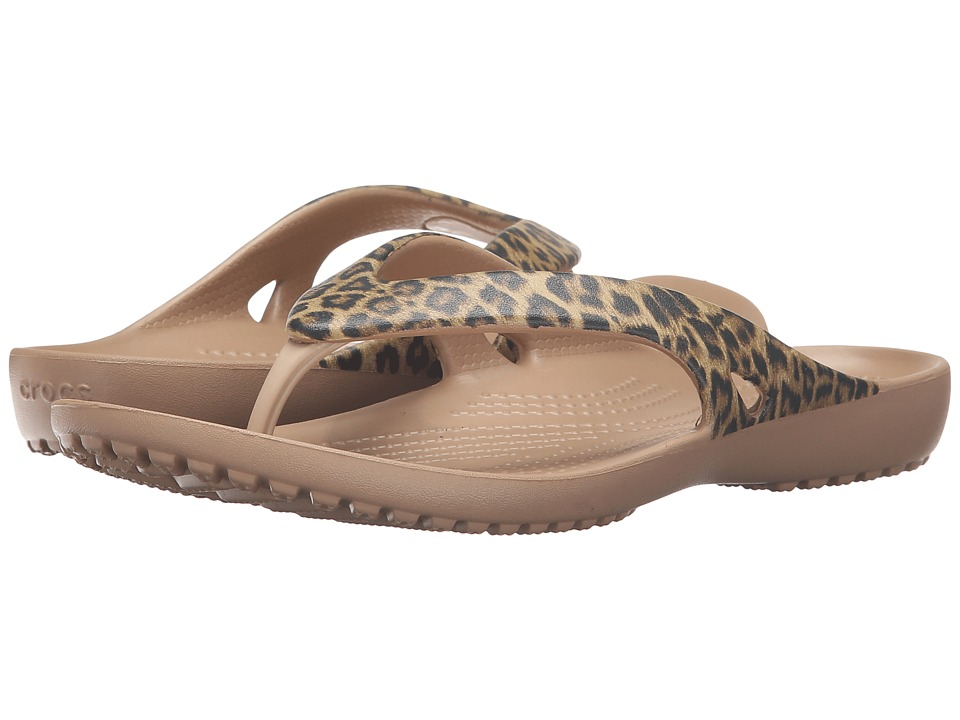 Crocs - Kadee II Leopard Print Flip (Gold) Women's Sandals