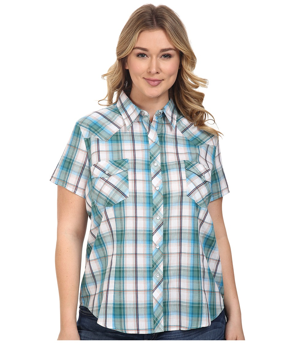 Roper - Plus Size 0388 White Turquoise Plaid (White) Women's Clothing