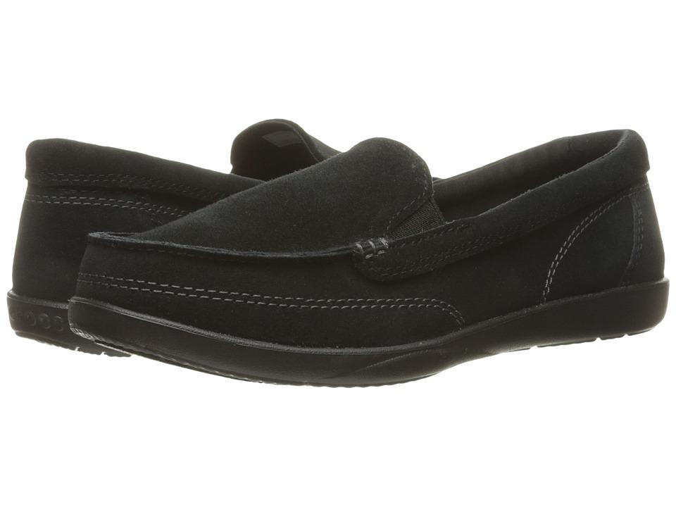 Crocs - Walu II Suede Loafer (Black) Women's Slip on Shoes