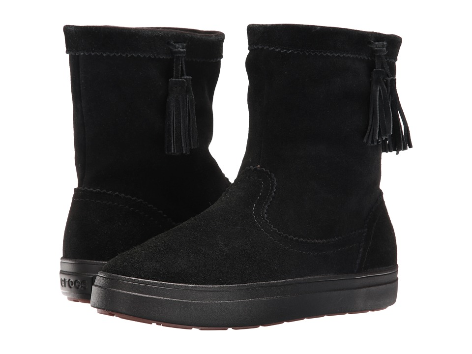 Crocs LodgePoint Suede Pull-On Boot (Black) Women's Pull-on Boots