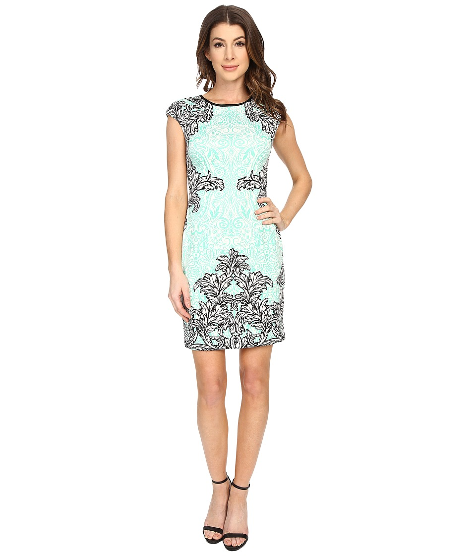 Maggy London - Scroll Lace Scuba Sheath (Soft White/Mint) Women's Dress