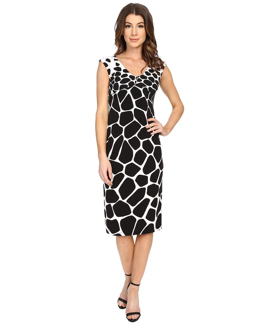 Maggy London - Graduated Giraffe V-Neck Scuba Sheath (Soft White/Black) Women's Dress