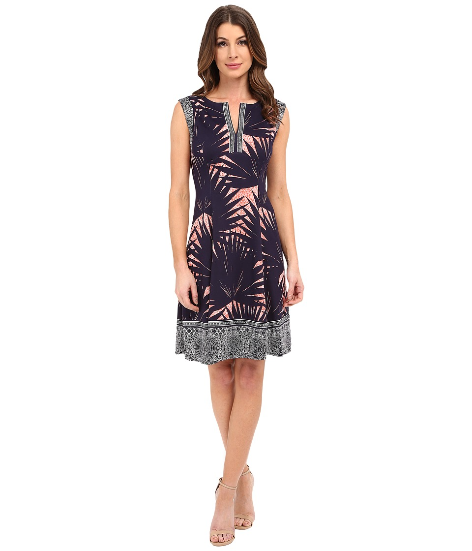 Maggy London - Palm Medallion Printed Scuba Fit and Flare with Border Detail (Navy/Coral) Women's Dress