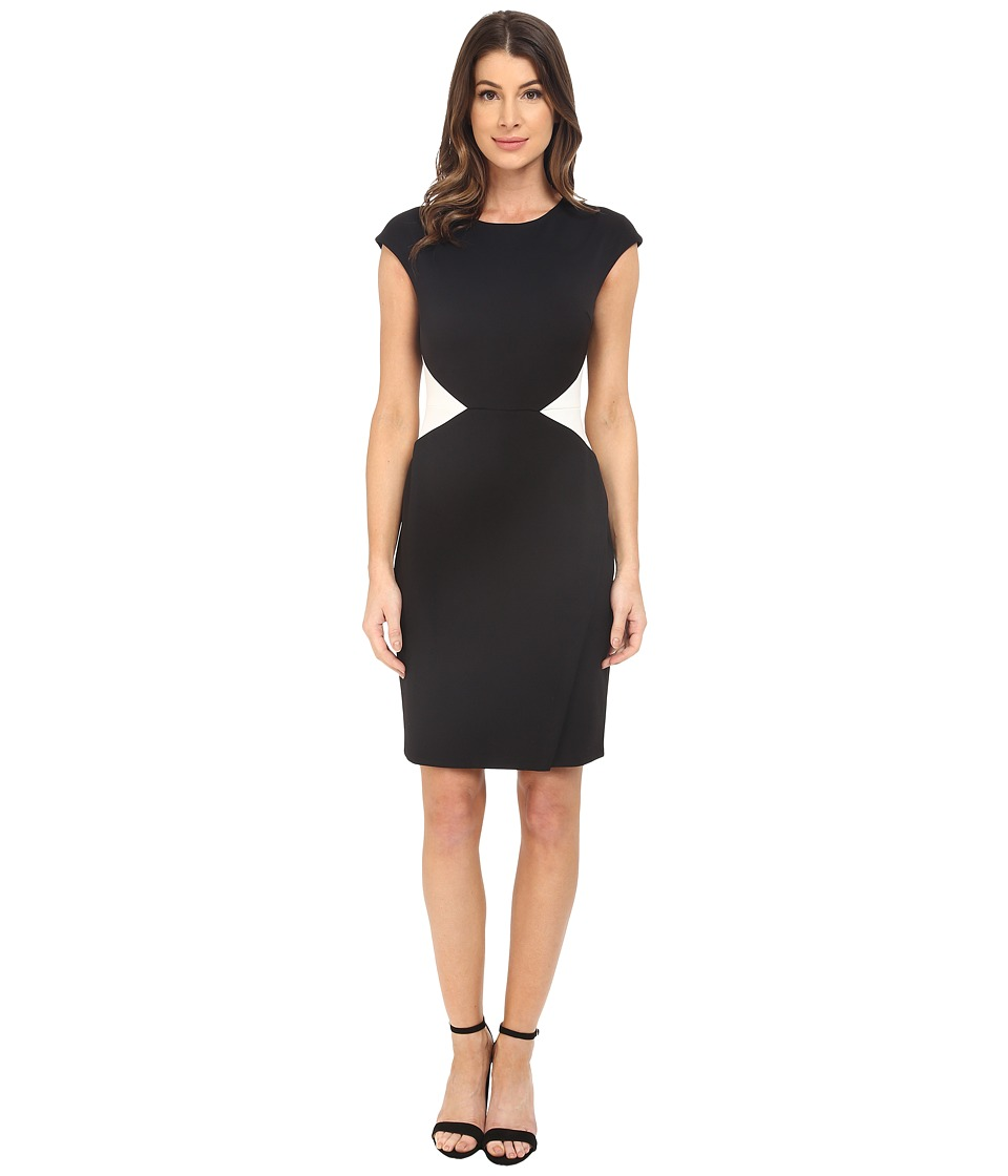 Maggy London - Solid Scuba Color Block Sheath (Black/Soft White) Women's Dress