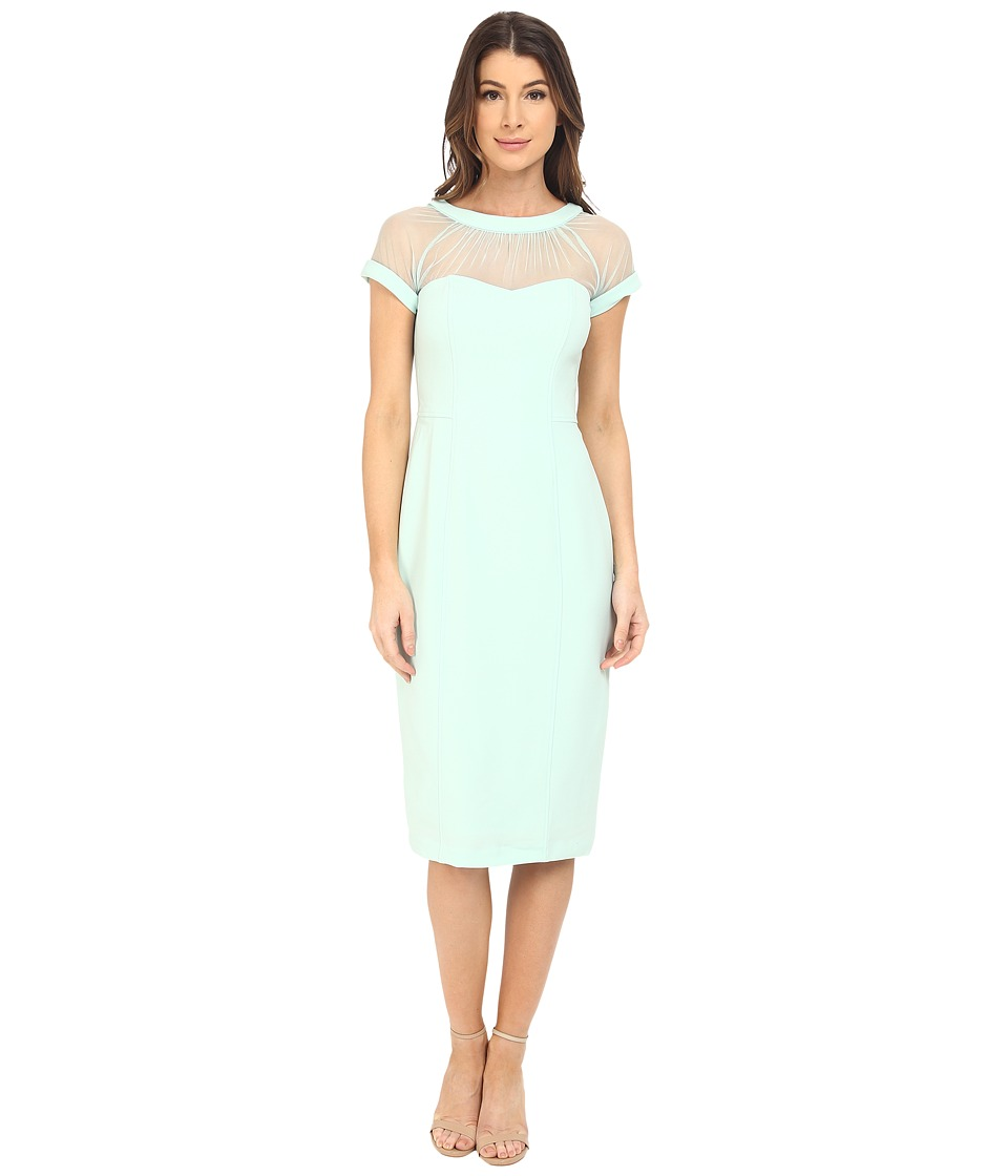 Maggy London - Illusion Top Crepe Dress (Mint) Women's Dress
