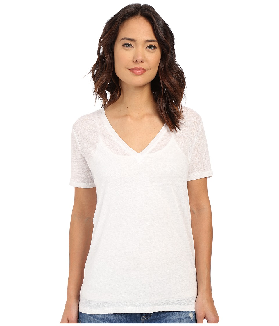Obey - Joni Deep V Linen Tee (White) Women's T Shirt
