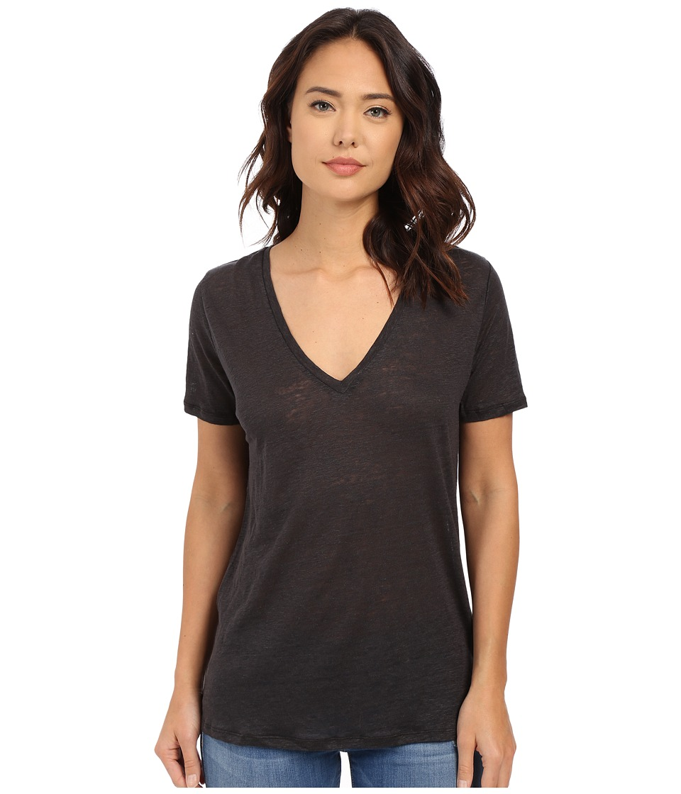 Obey - Joni Deep V Linen Tee (Black) Women's T Shirt
