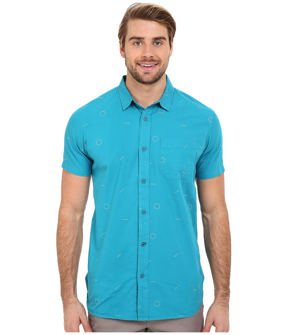 Tavik - Harmon Woven (Harbor Green) Men's Short Sleeve Button Up