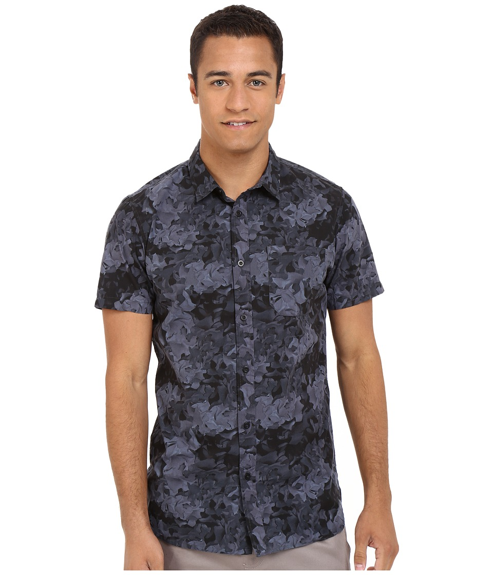 Tavik - Harmon Woven (Floral Black) Men's Short Sleeve Button Up