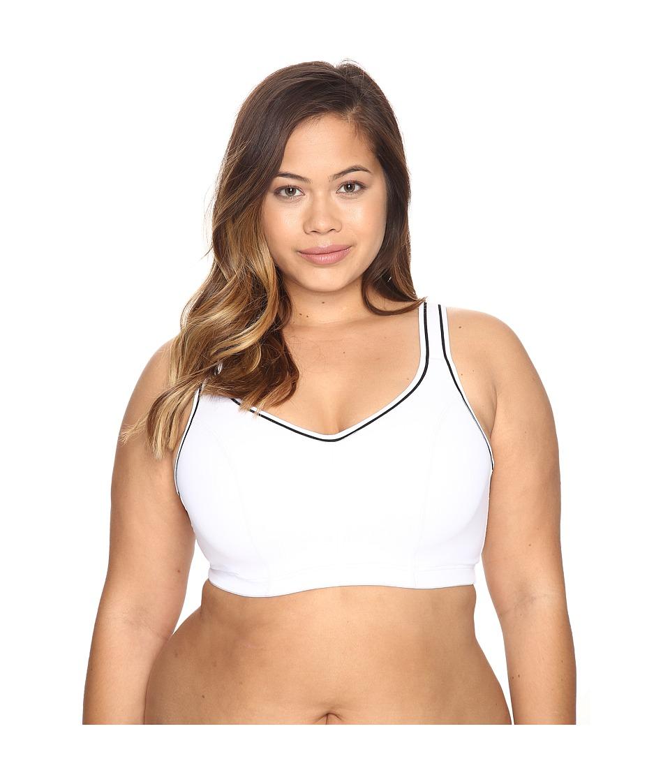 Marika Curves - Gabriella Sport Bra (White/White/Black Stripe Elastic) Women's Bra