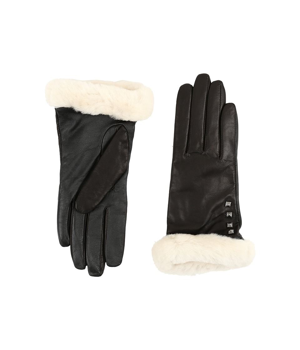 UGG - Art Deco Stud Smart Gloves w/ Short Pile Trim (Black) Extreme Cold Weather Gloves