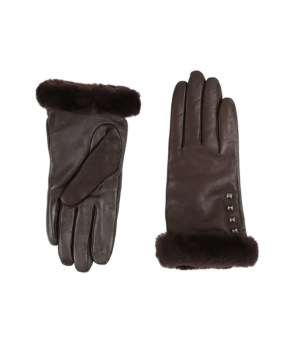 UGG - Art Deco Stud Smart Gloves w/ Short Pile Trim (Brown) Extreme Cold Weather Gloves