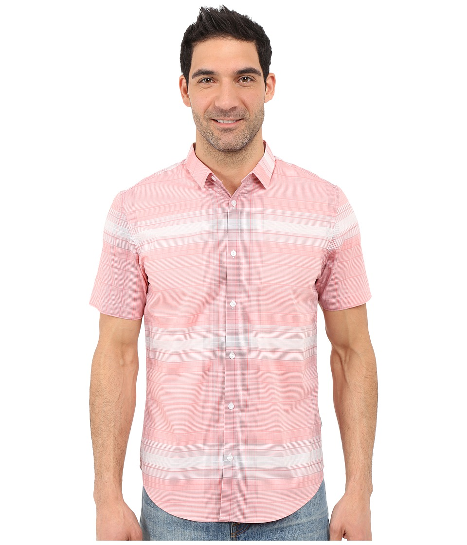 Calvin Klein - Slim Fit Linear Plaid Short Sleeve Shirt (Tango) Men's Short Sleeve Button Up