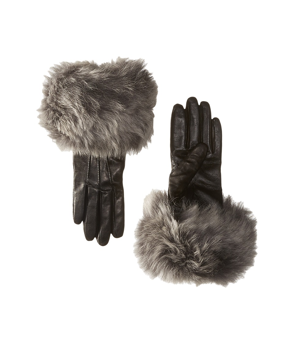 UGG - Three Point Long Toscana Trim Leather Smart Gloves (Black Multi) Extreme Cold Weather Gloves