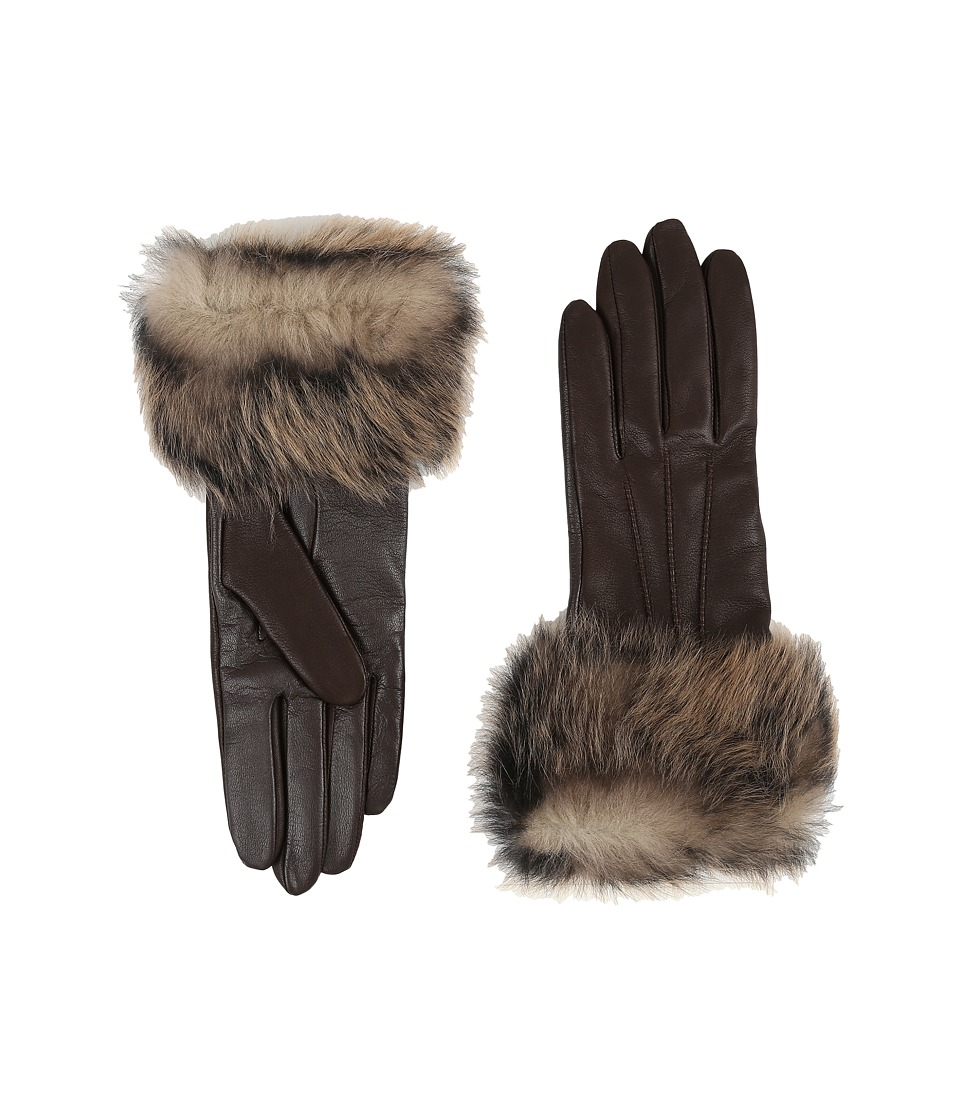 UGG - Three Point Long Toscana Trim Leather Smart Gloves (Brown Multi) Extreme Cold Weather Gloves