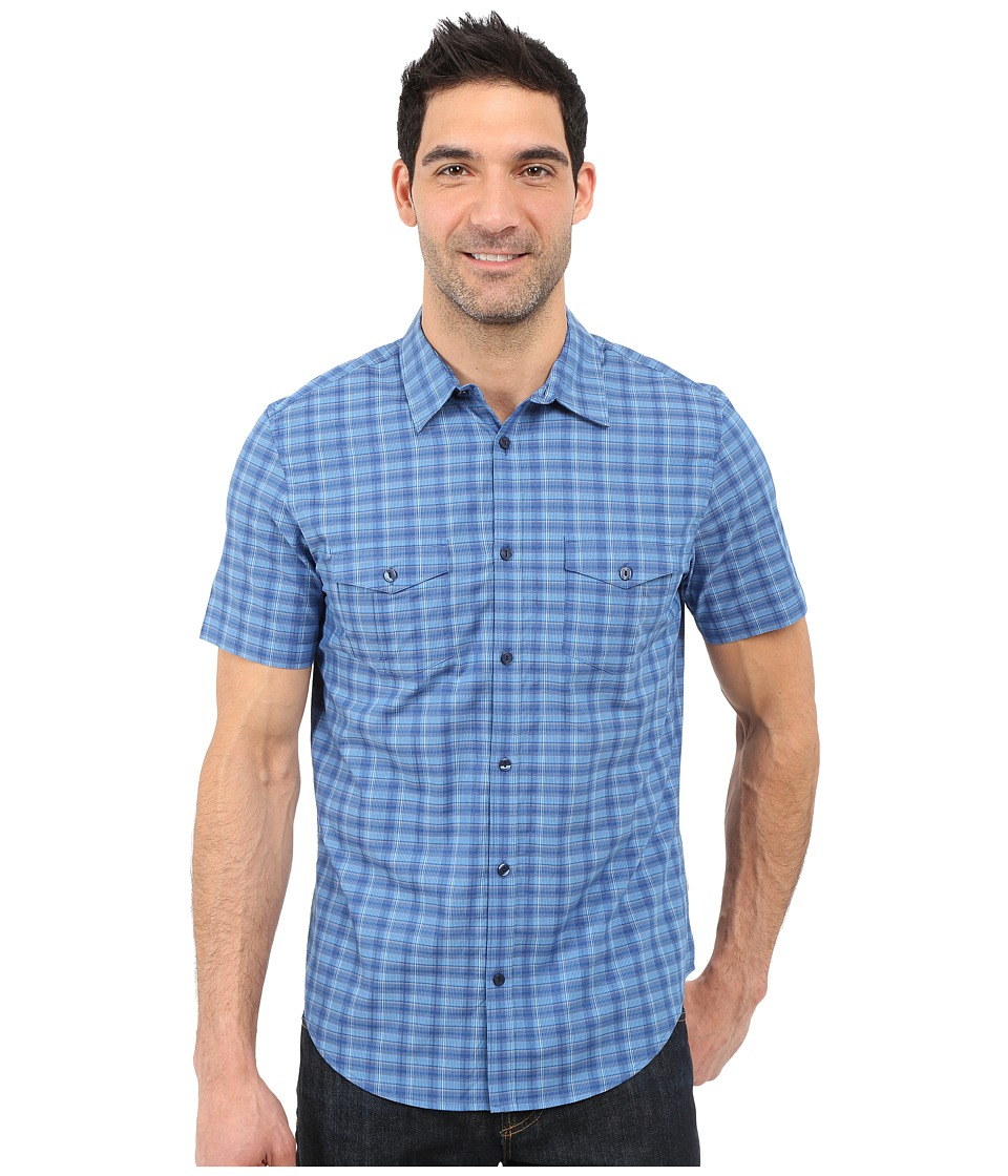 Calvin Klein - Classic Fit Plaid Short Sleeve Shirt (Skydiver) Men's Short Sleeve Button Up