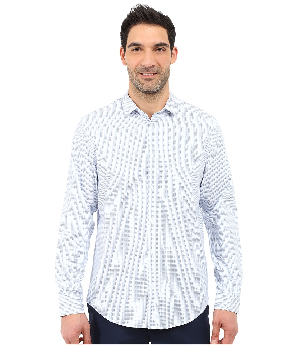 Calvin Klein - Infinite Cool Pin-Dot Stripe Shirt (Placid Blue) Men's Long Sleeve Button Up