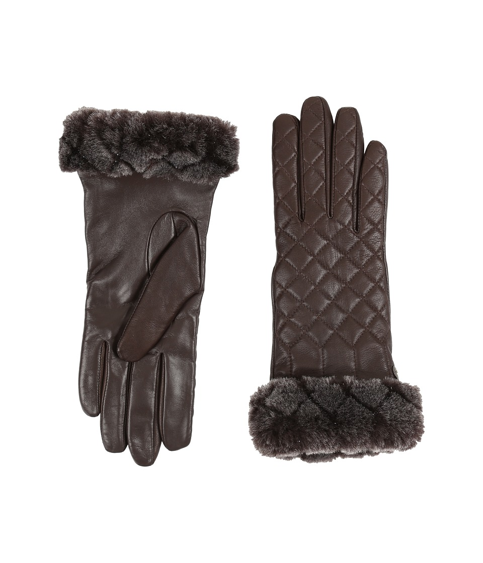 UGG - Quilted Croft Leather Smart Gloves (Brown) Extreme Cold Weather Gloves