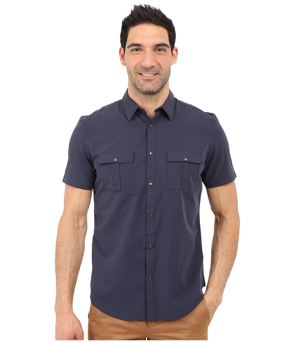 Calvin Klein - Classic Fit Lyocell-Blend Short Sleeve Shirt (Navy Blazer) Men's Short Sleeve Button Up