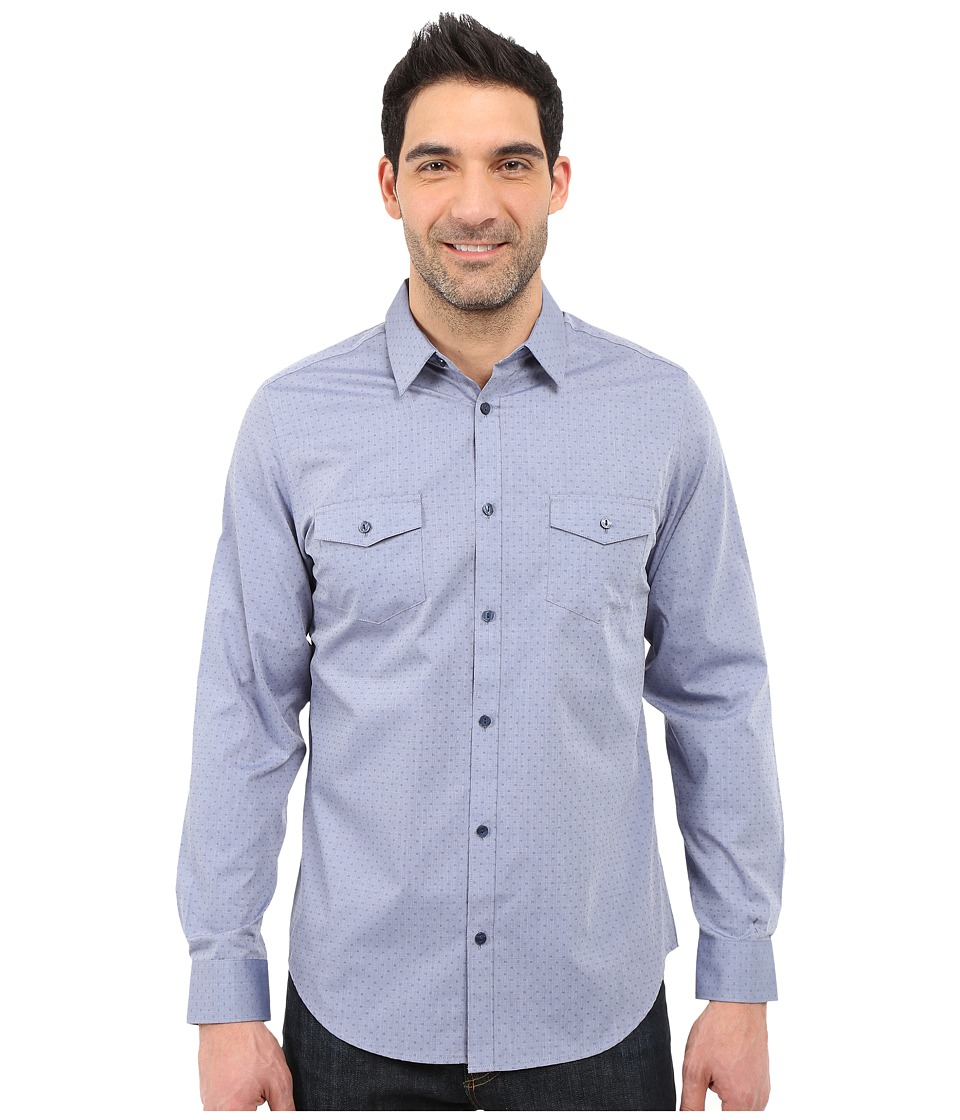 Calvin Klein - Infinite Cool Slim Fit Patch Pocket Dobby Shirt (Palace Blue) Men's Long Sleeve Button Up