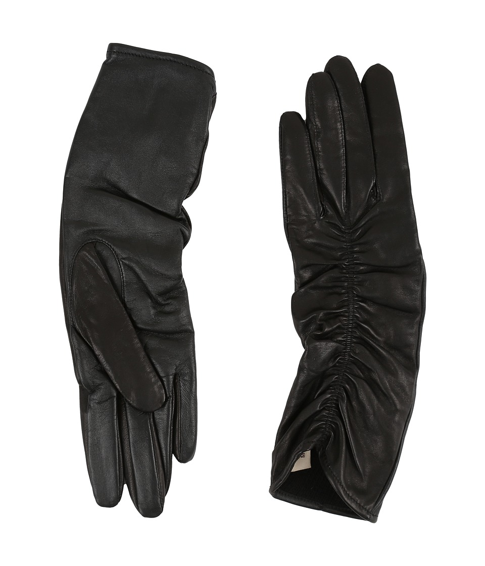 UGG - Ruched Novelty Leather Smart Gloves (Black) Extreme Cold Weather Gloves