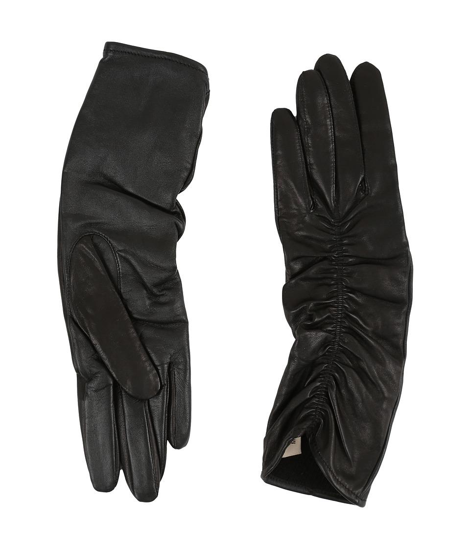 UGG - Ruched Novelty Leather Smart Gloves (Black) Extreme Cold Weather Gloves