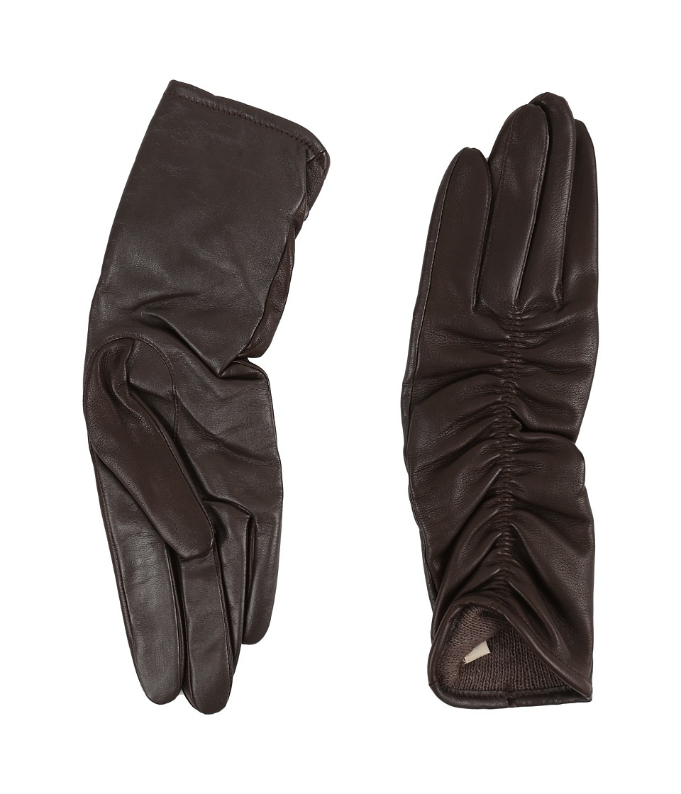 UGG - Ruched Novelty Leather Smart Gloves (Brown) Extreme Cold Weather Gloves