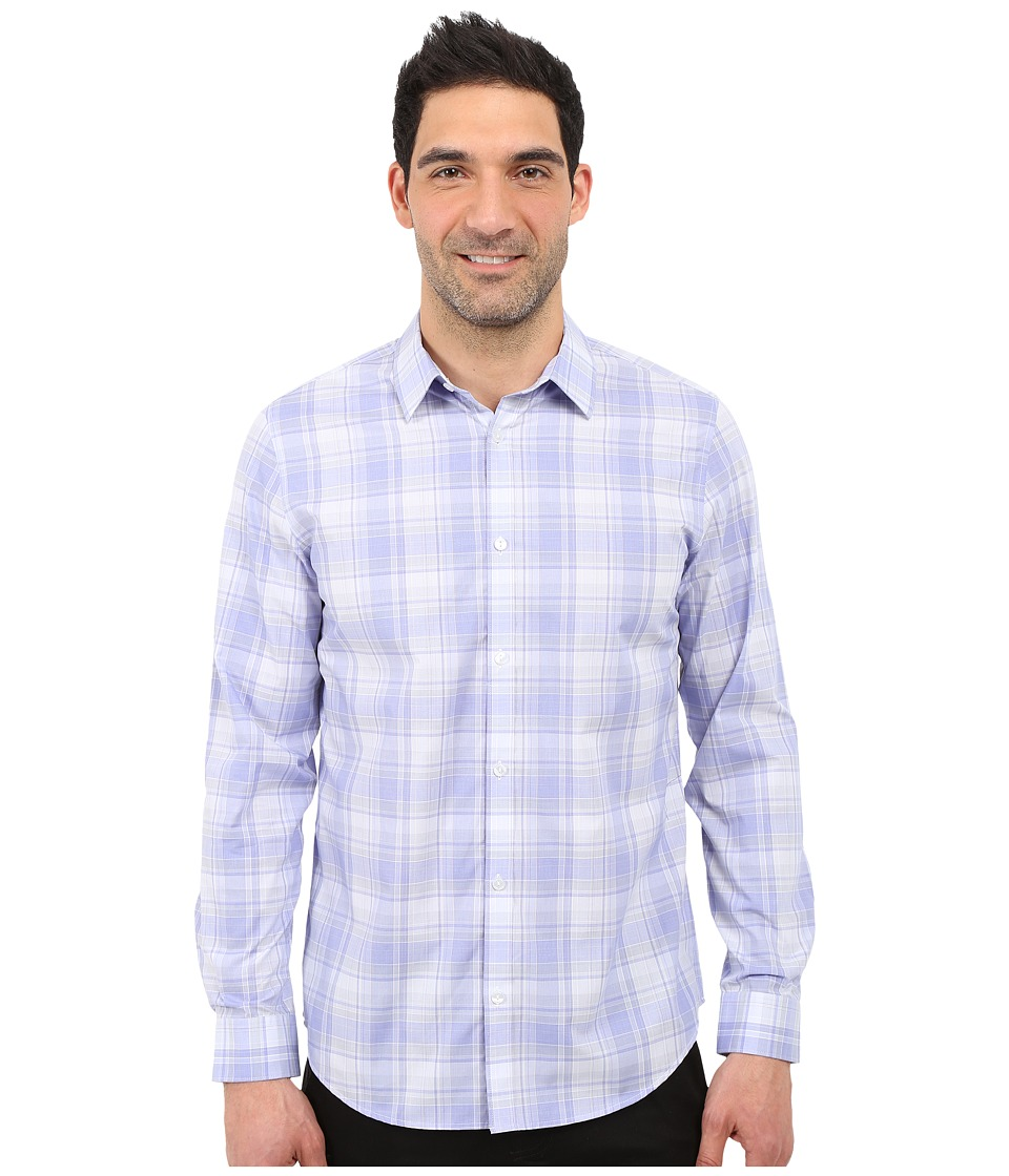 Calvin Klein - Infinite Cool Classic Fit Plaid Shirt (Deep Periwinkle) Men's Long Sleeve Button Up