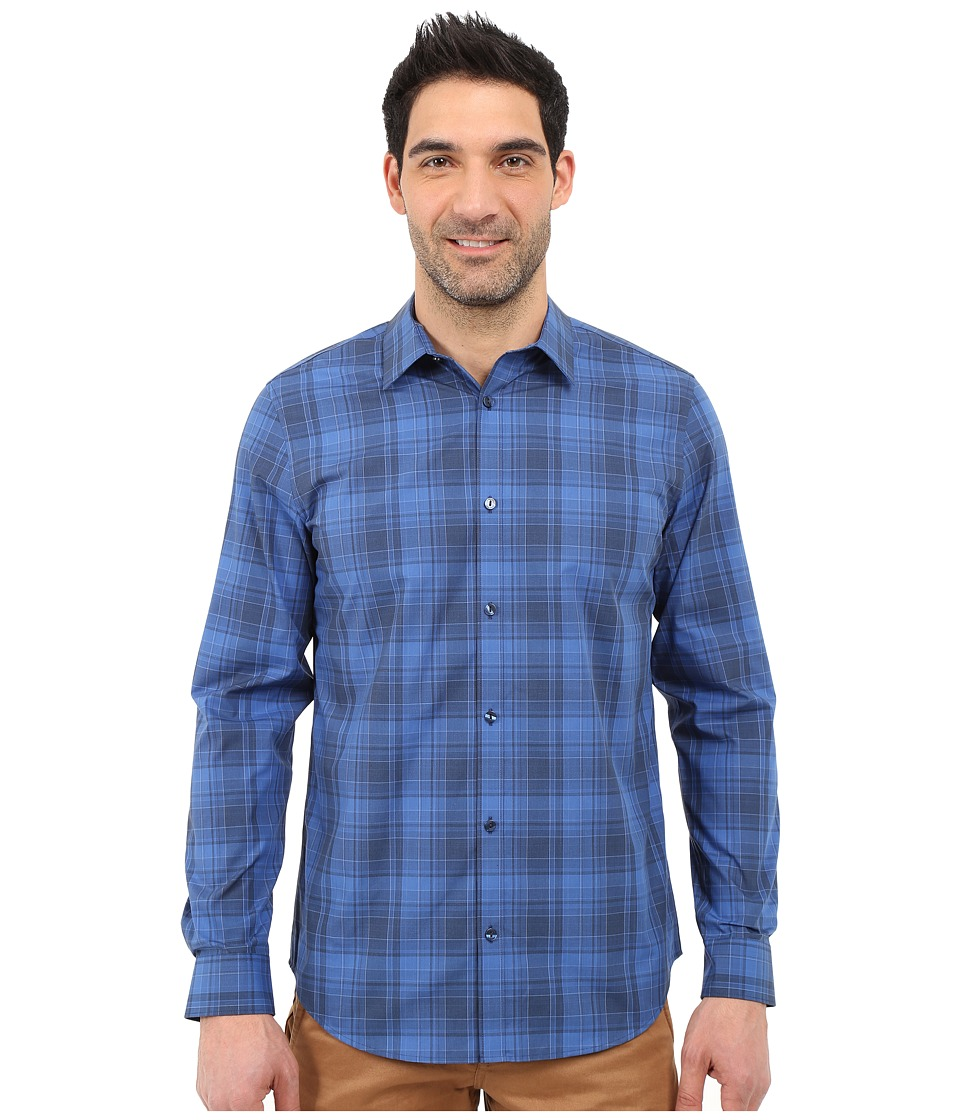 Calvin Klein - Infinite Cool Classic Fit Plaid Shirt (Deep Water) Men's Long Sleeve Button Up