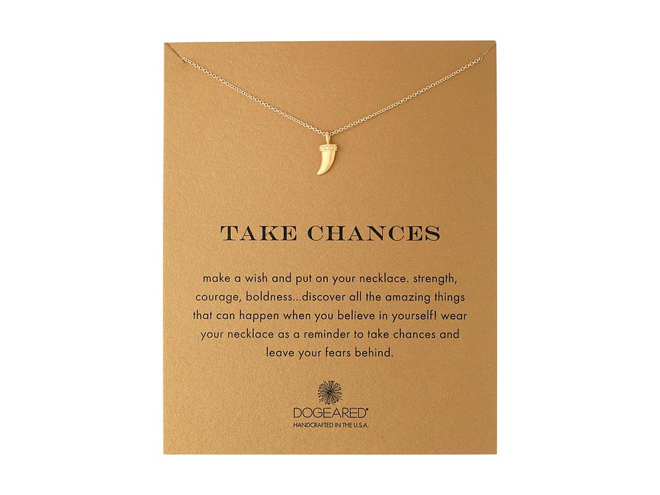 Dogeared - Take Chances Horn Reminder Necklace (Gold Dipped) Necklace