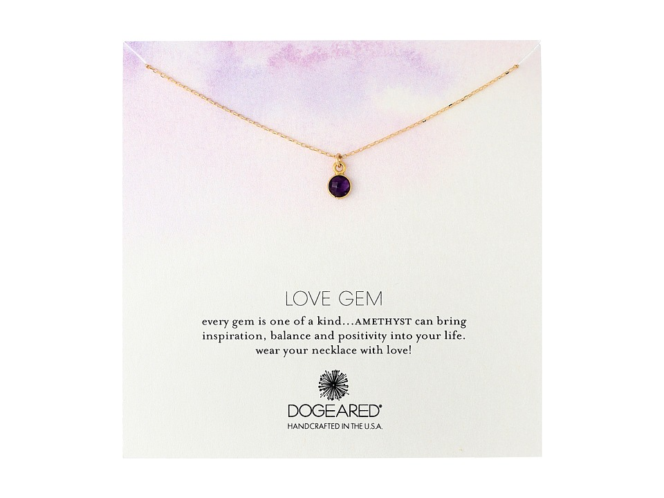 Dogeared - Love Gem Round Amethyst Bezel Necklace (Gold Dipped) Necklace