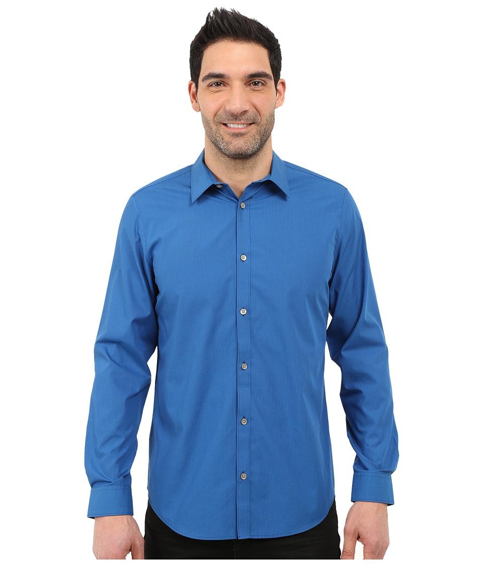 Calvin Klein - Classic Fit Cool Tech Non-Iron Striped Shirt (Deep Water) Men's Long Sleeve Button Up