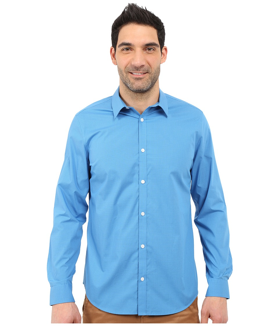 Calvin Klein - Classic Fit Cool Tech Non-Iron Checked Shirt (Blue Plate) Men's Long Sleeve Button Up