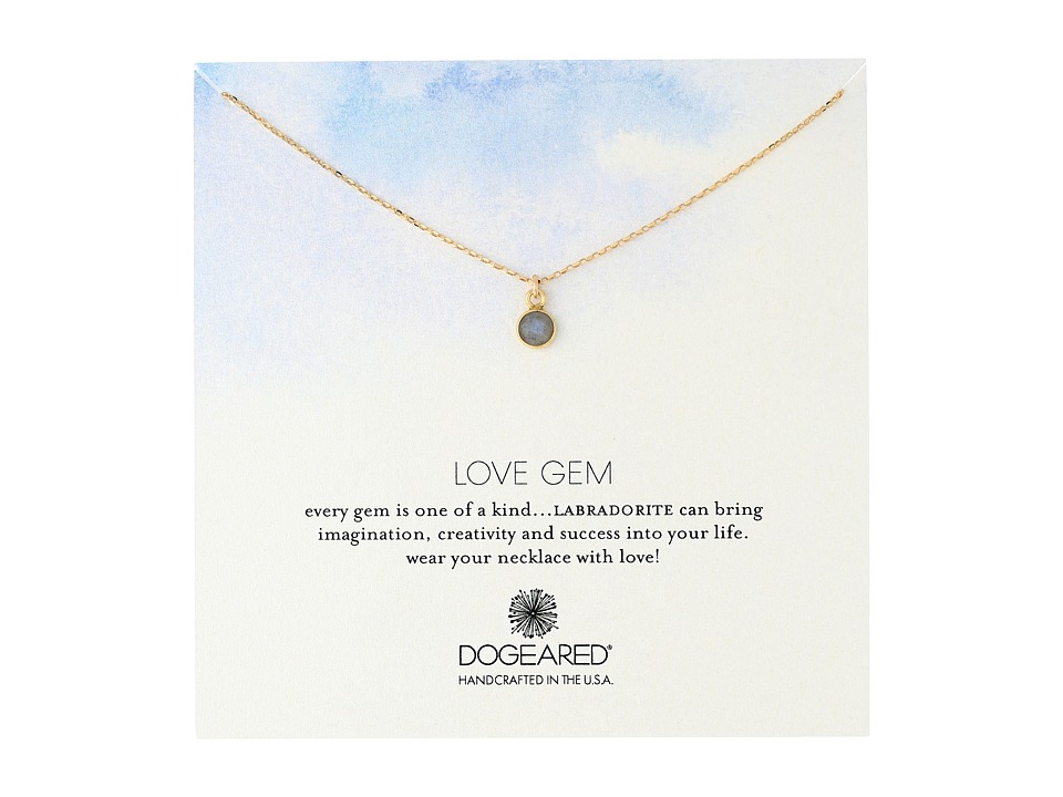 Dogeared - Love Gem Dangling Labradorite Necklace (Gold Dipped) Necklace