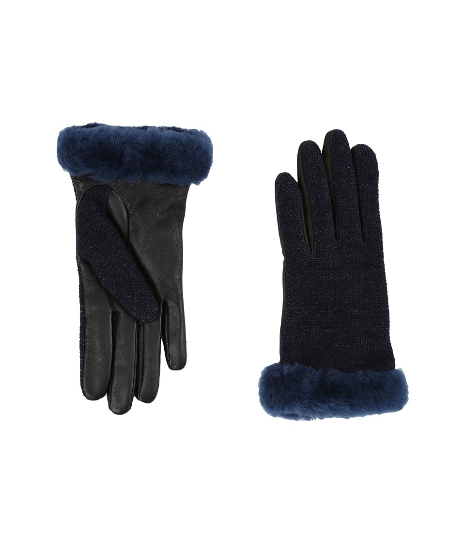 UGG - Shorty Smart Fabric Gloves w/ Short Pile Trim (Indigo Multi) Extreme Cold Weather Gloves