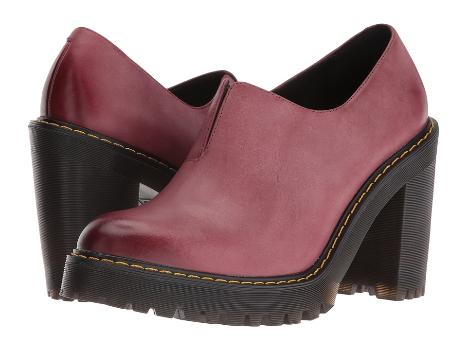 Dr. Martens - Vega Gusset Slip-On Shoe (Wine Antique Milled Brunido) High Heels
