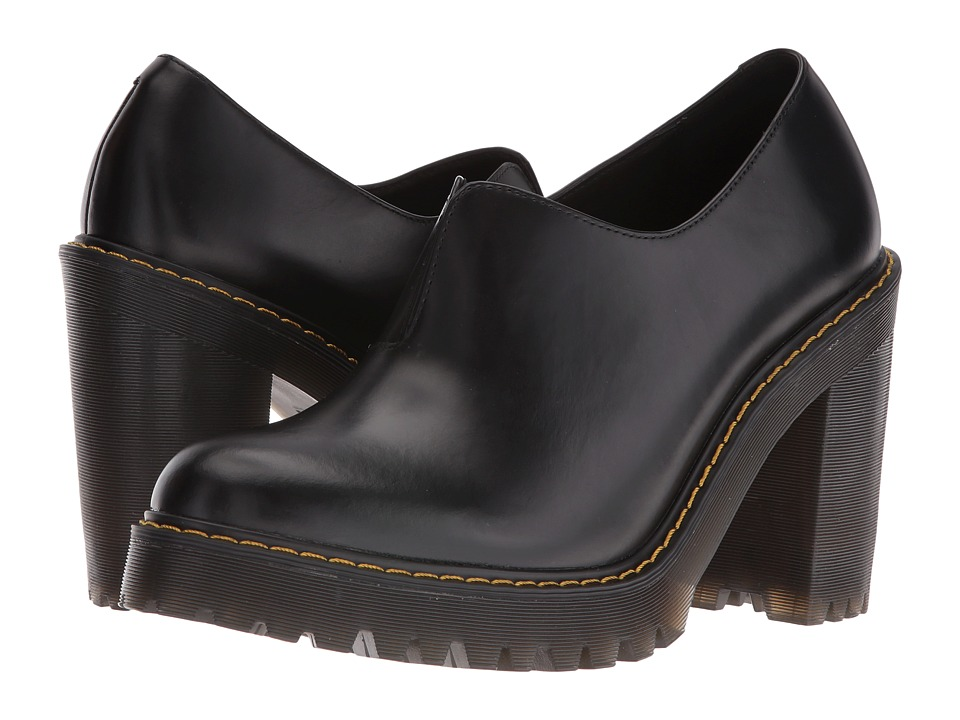 Dr. Martens - Vega Gusset Slip-On Shoe (Black Polished Smooth) High Heels