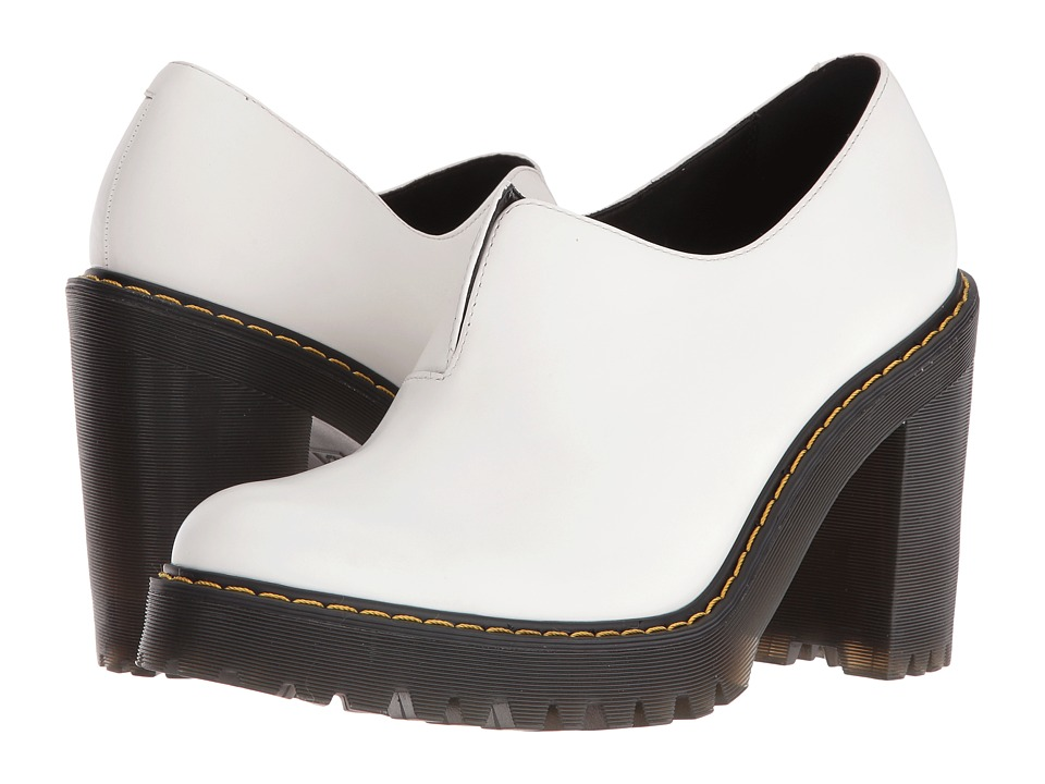 Dr. Martens - Vega Gusset Slip-On Shoe (White Polished Smooth) High Heels