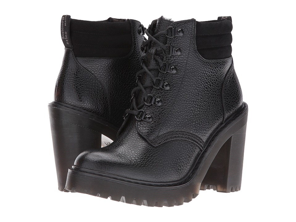 Dr. Martens - Persephone FL 6-Eye Padded Collar Boot (Black Stone) Women's Lace-up Boots