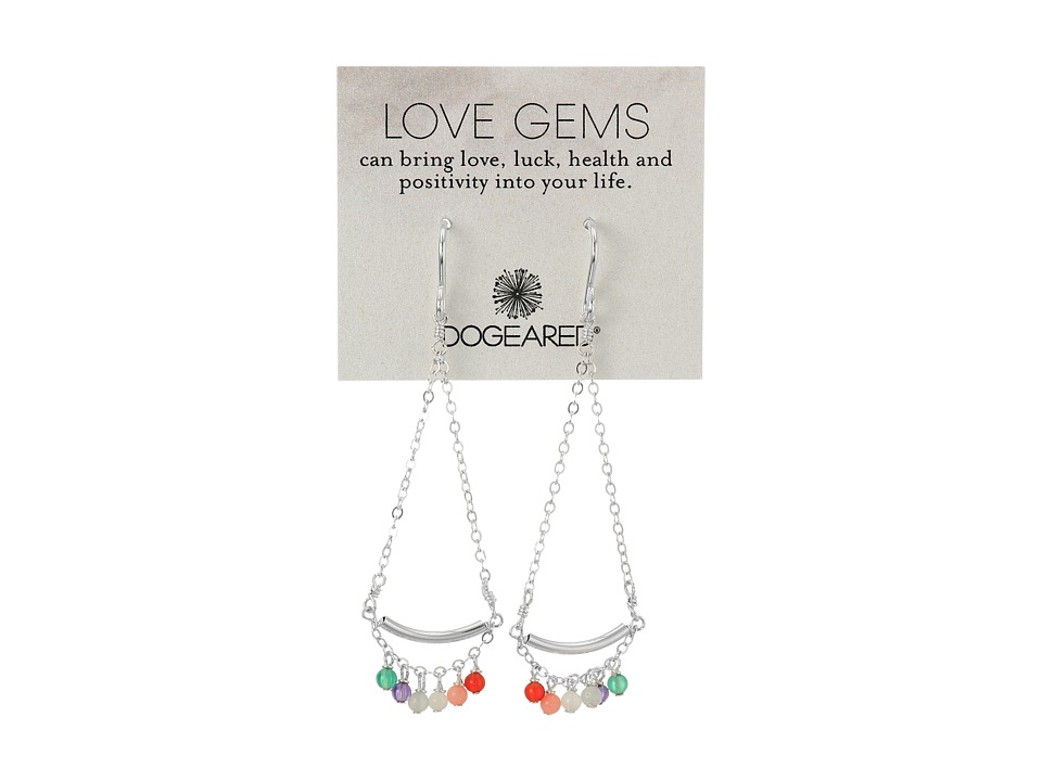 Dogeared - Love Gems Multi-Gem Swing Earrings (Sterling Silver) Earring