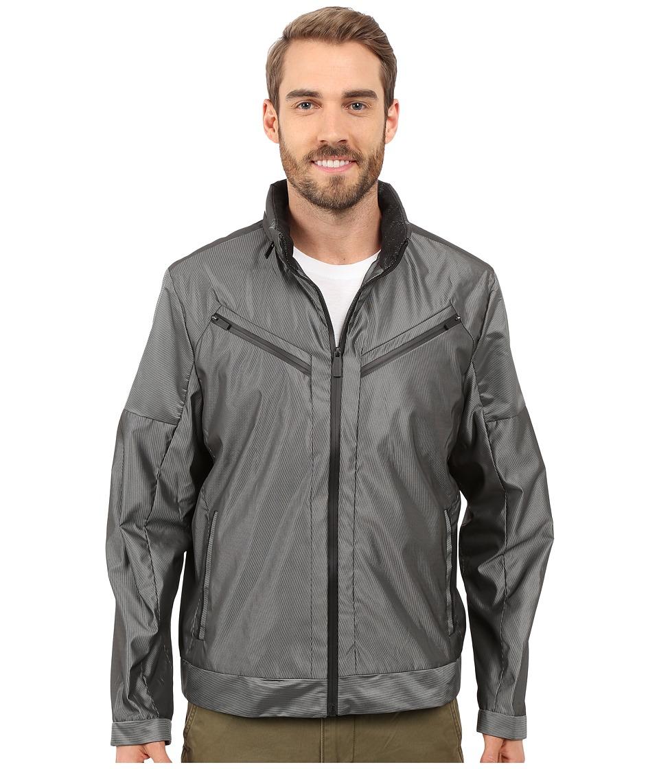 Calvin Klein - Slim Fit Woven Stripe Bomber Jacket (Black) Men's Jacket