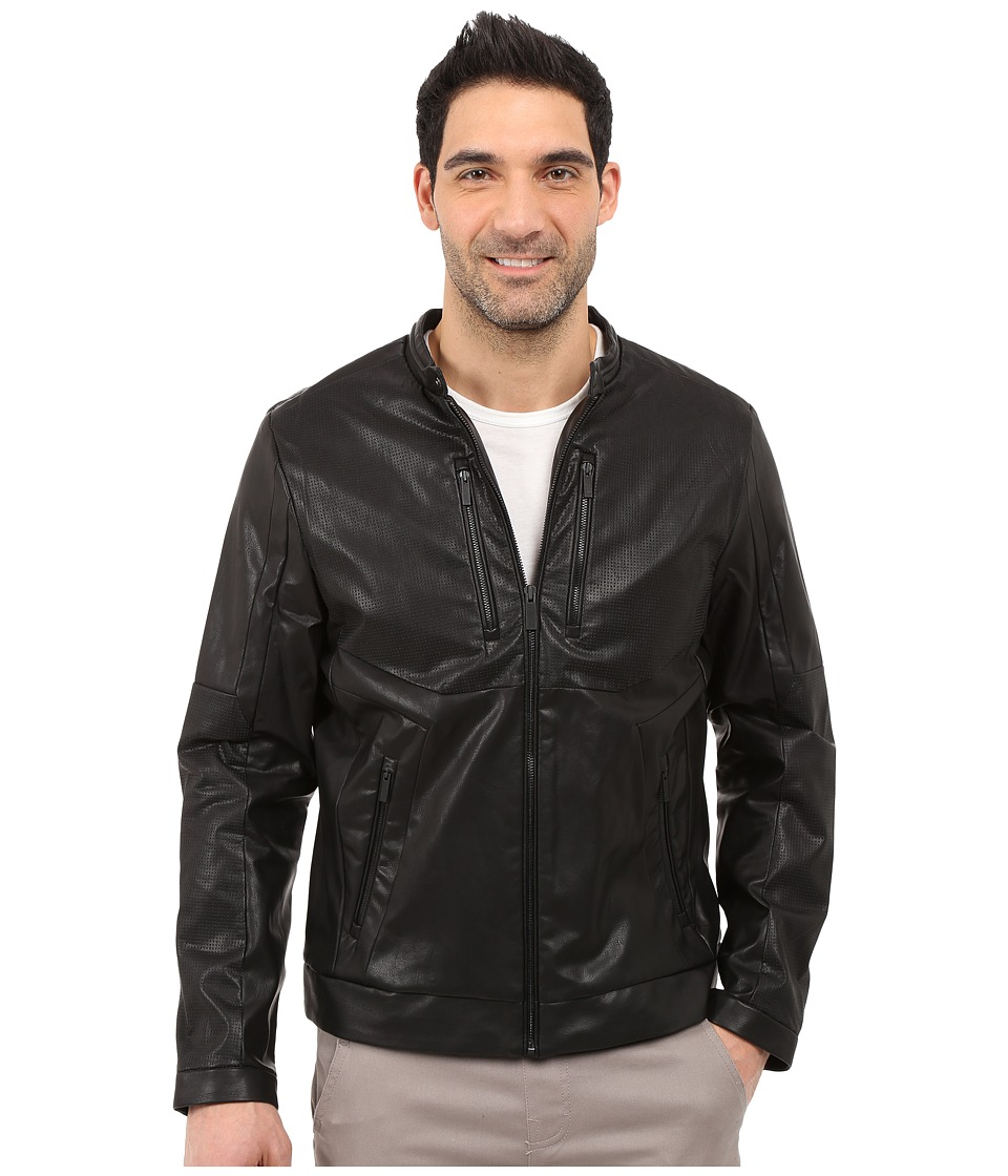 Calvin Klein - Perforated Faux Leather Jacket (Black) Men's Jacket