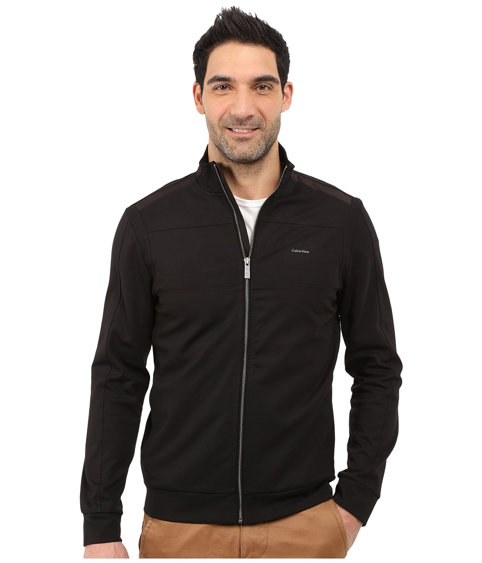 Calvin Klein - Color Block Zip-Front Ponte Jacket (Black) Men's Jacket