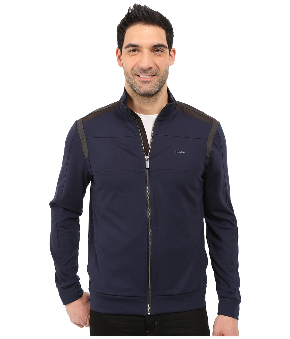 Calvin Klein - Color Block Zip-Front Ponte Jacket (Navy Blazer) Men's Jacket