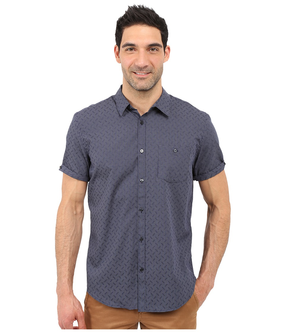 Calvin Klein - Classic Fit Tonal Micro Grid Short Sleeve Shirt (Navy Blazer) Men's Clothing