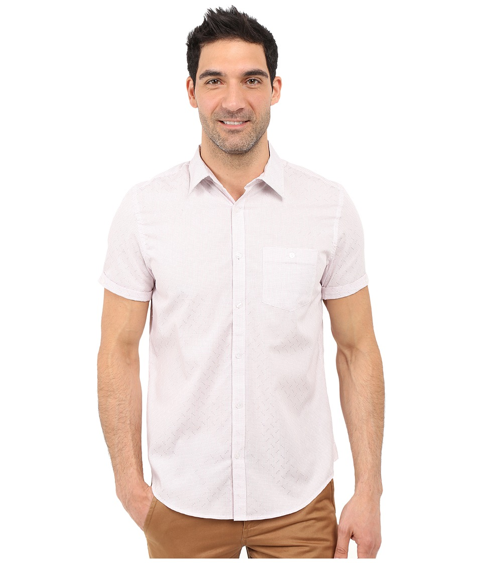 Calvin Klein - Classic Fit Tonal Micro Grid Short Sleeve Shirt (Raspberry Radiance) Men's Clothing
