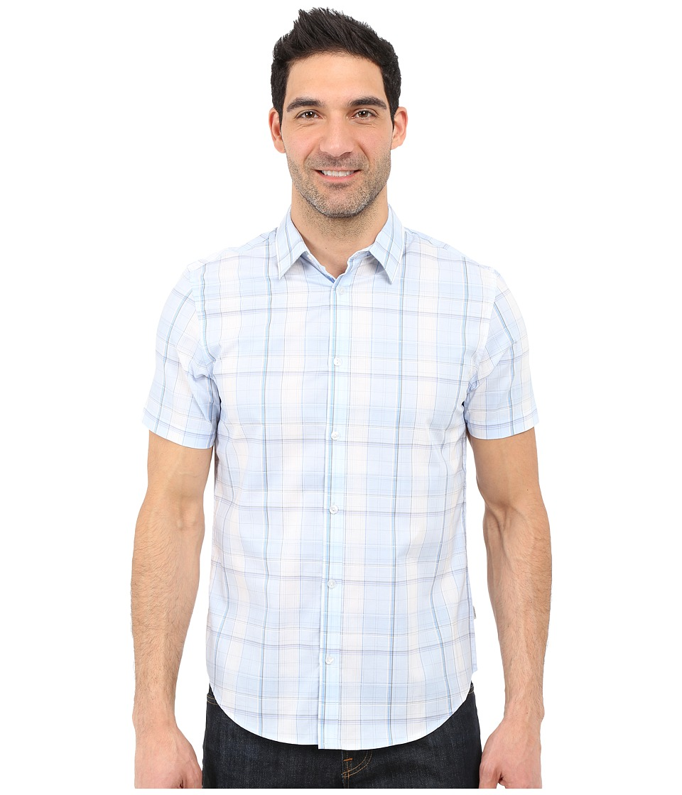Calvin Klein - Classic Fit Window Plaid Short Sleeve Shirt (Placid Blue) Men's Short Sleeve Button Up