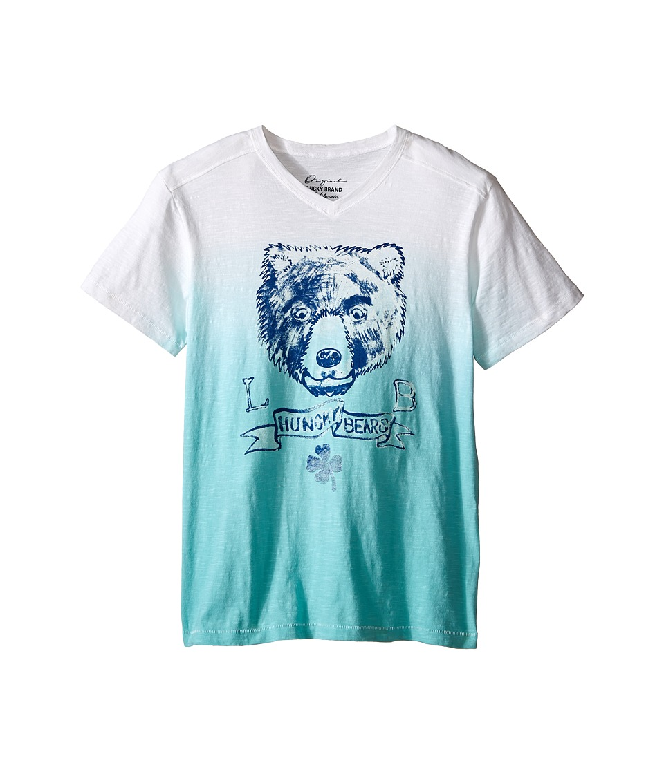 Lucky Brand Kids - Dip Dye Bear Tee (Big Kids) (Haze Aqua) Boy's T Shirt