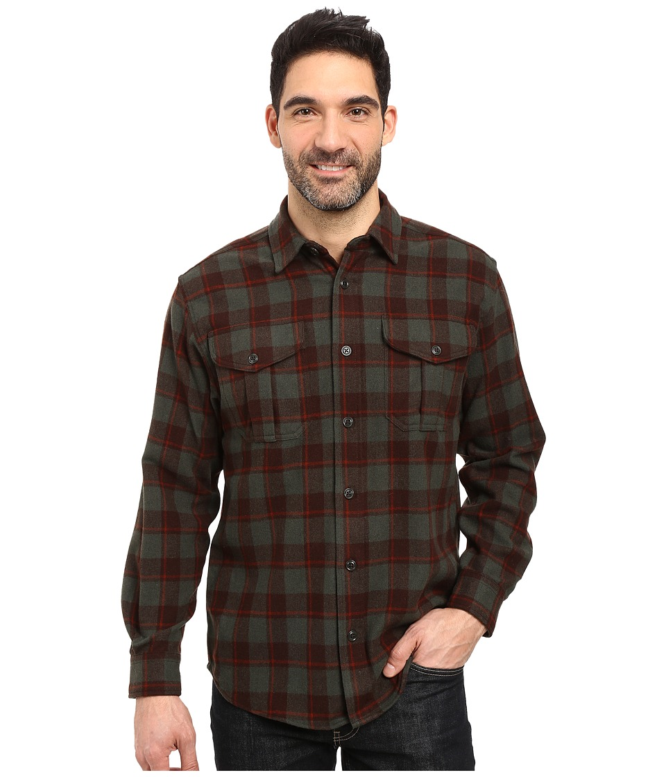 Filson - Northwest Wool Shirt (Brown/Dark Loden/Rust) Men's Clothing