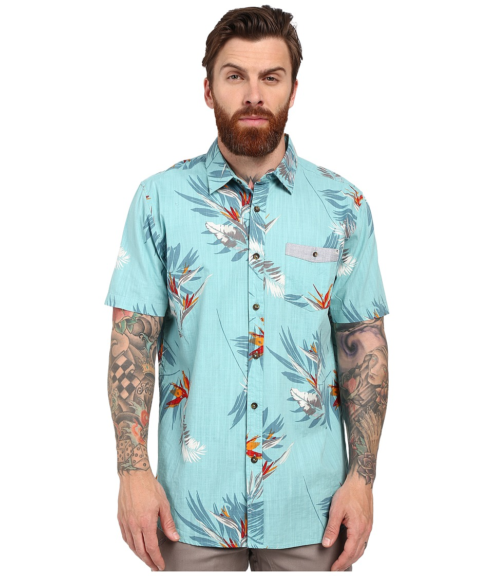 Rip Curl - Paradise Strokes Short Sleeve Shirt (Aqua) Men's Clothing